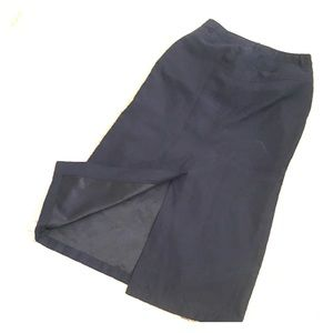 Navy blue nylon sporty midi skirt